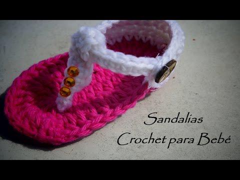 c39dbe849 Sandalias para bebé Tejidas a Ganchillo (Crochet) - YouTube
