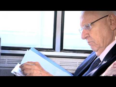 Israeli president Reuven Rivlin seen on the train from New York to Washington DC