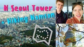 Hiking in Seoul up Mount Namsan Park to visit N Seoul Tower in South Korea