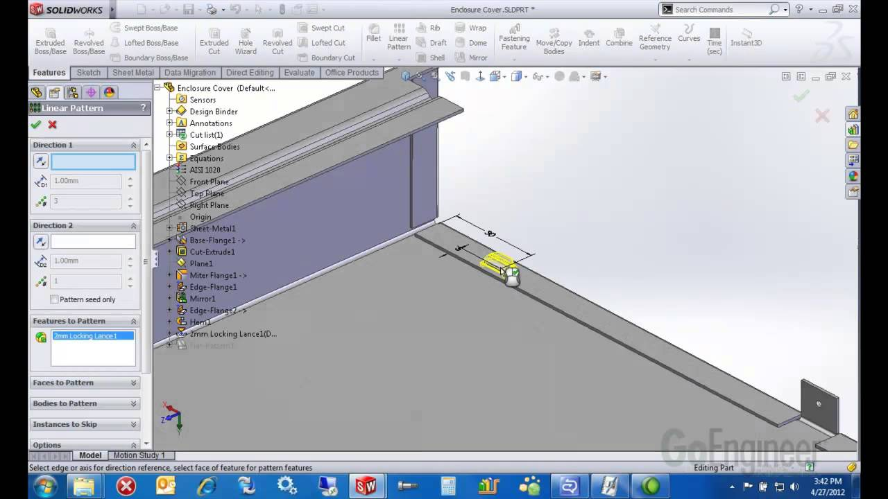 Solidworks Sheet Metal Forming Tools Youtube