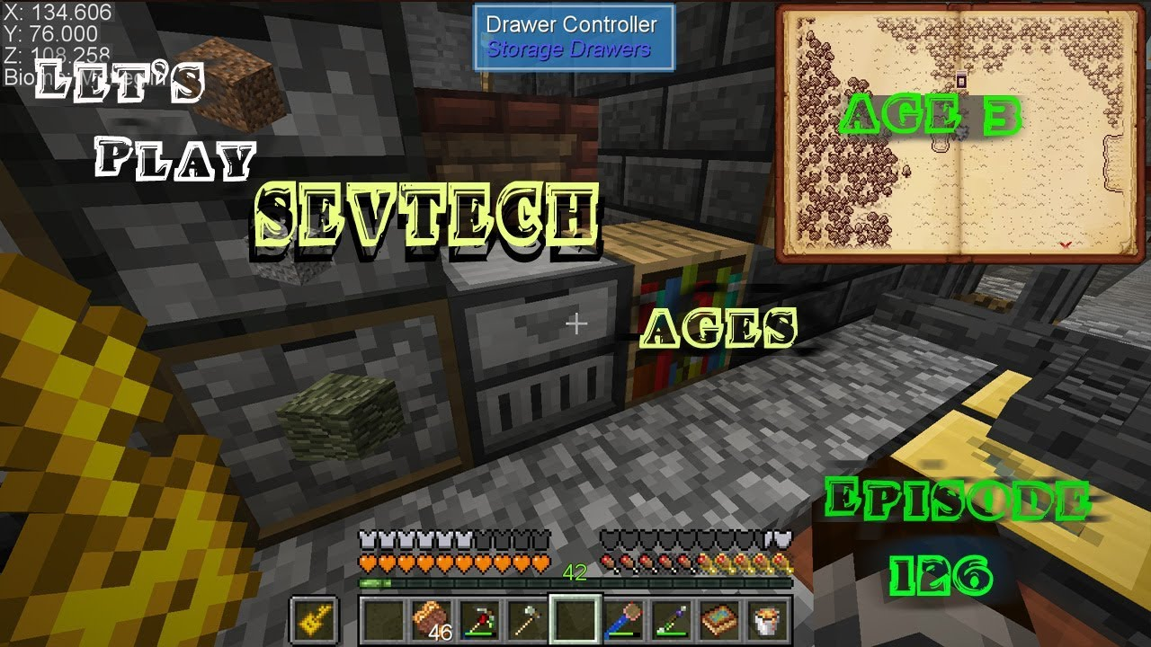 Minecraft Sevtech Ages Episode 126: Drawer Controller and the Excavator mod