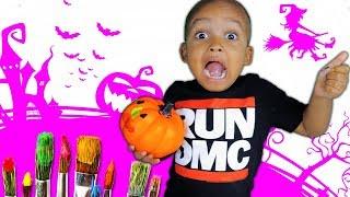 Painting Pumpkin for Halloween - Videos for Children