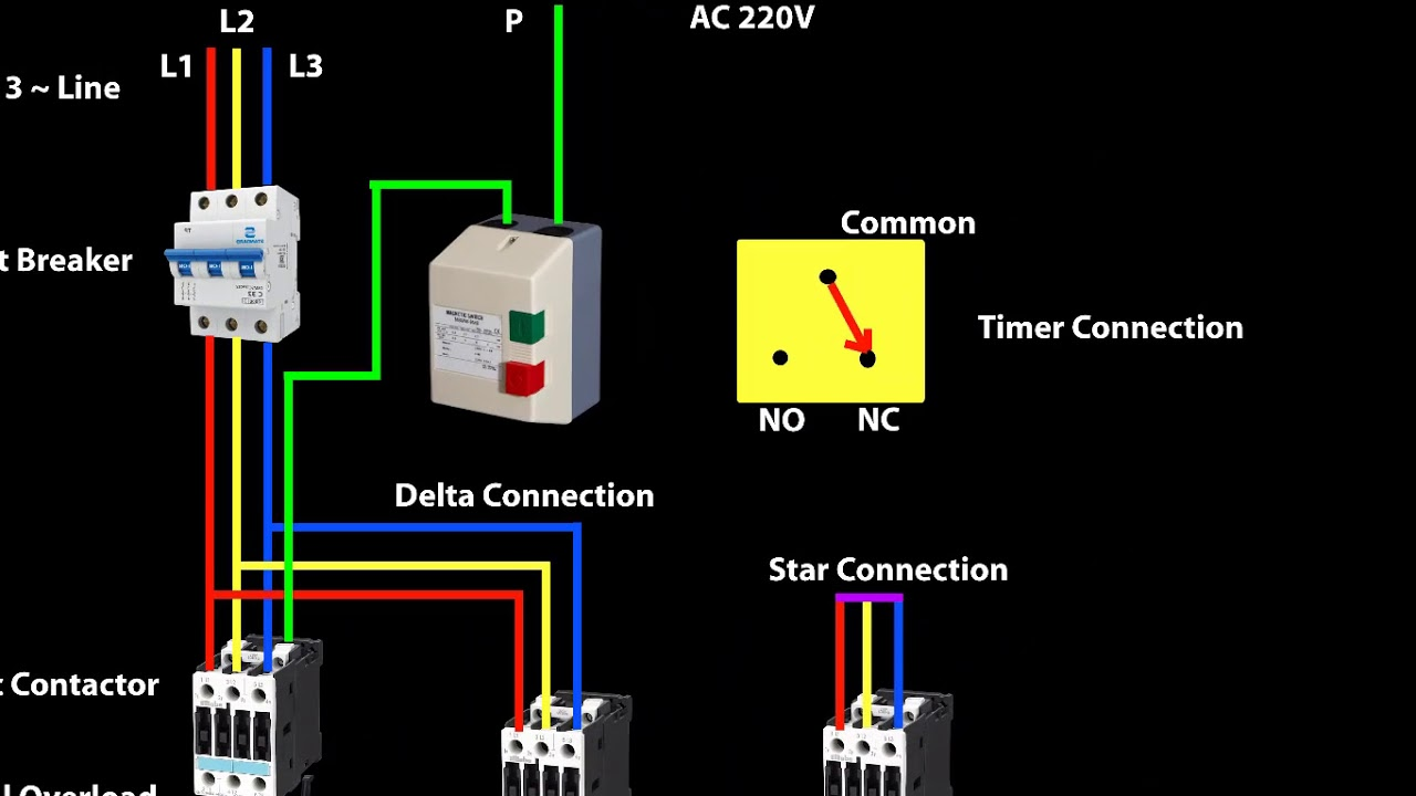 star delta starter animation with english subtitle youtube star delta starter control wiring diagram  [ 1280 x 720 Pixel ]