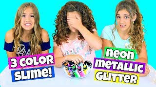 3 Color Slime Challenge! New Colors * Neon, Metallic & Glitter!