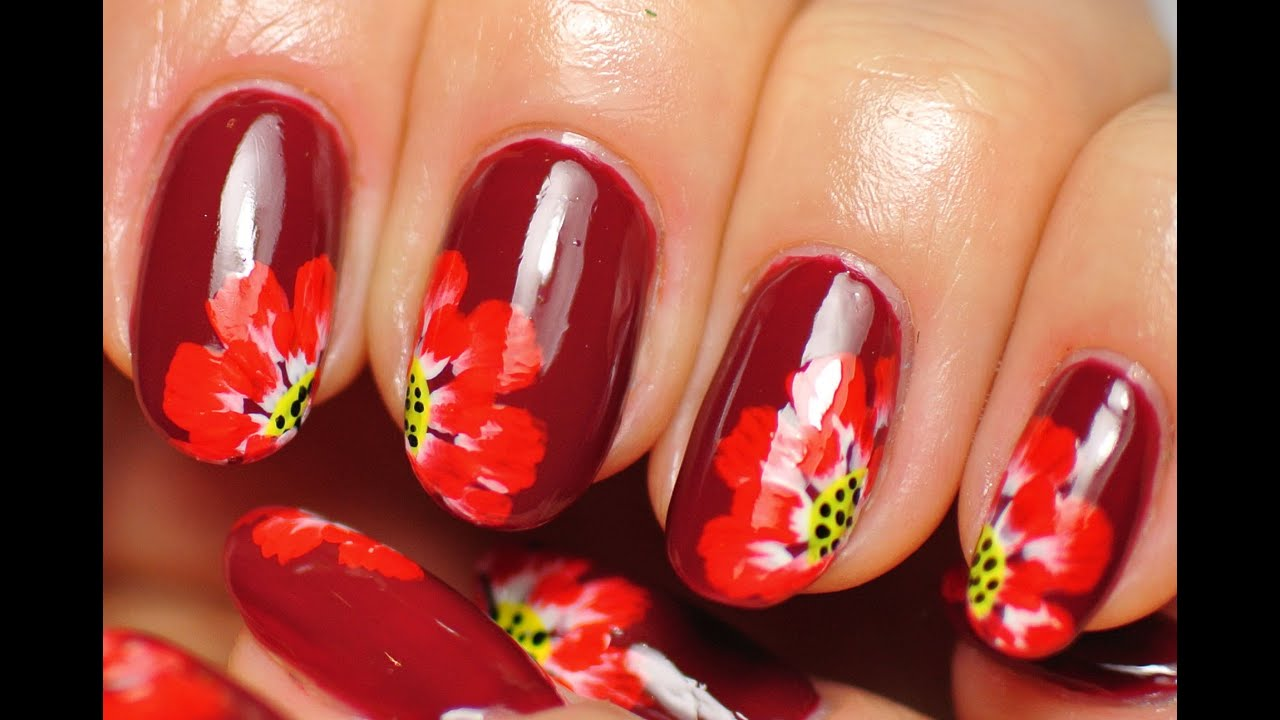 Nail Art. Red Flowers. Dark Nails. - YouTube