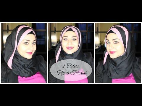 HIjab Tutorial untuk berwajah bulat#HijabTutorialRoundFace  Two Colors Hijab Tutorial - Hijab avec deux couleurs - YouTube 