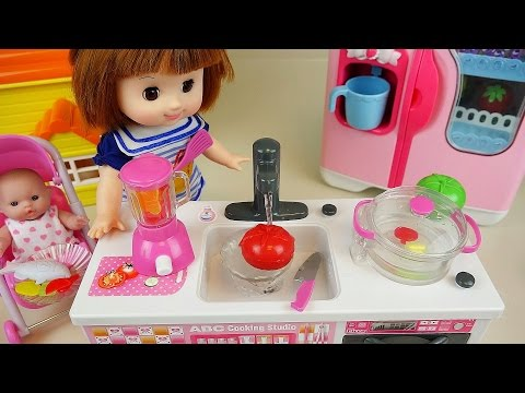 Thumbnail: Baby Doll Kitchen toys cooking soup & fruit vegetable juice microwave oven