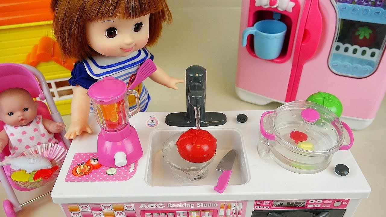 Little Girl Kitchen Sets Trailer Baby Doll Toys Cooking Soup Fruit Vegetable Juice Microwave Oven Youtube