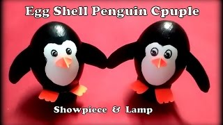 Egg Shell Craft- Making Penguin Couple showpiece using empty egg shells. Easter special.