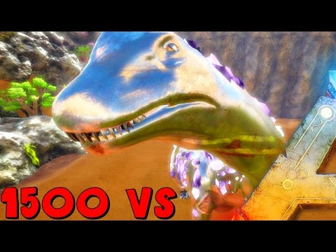 ARK Survival Evolved - BIONIC TITANOSAUR VS 1500 GIGANOTOSAURUS, BIONIC DRAGON ( Modded Gameplay )