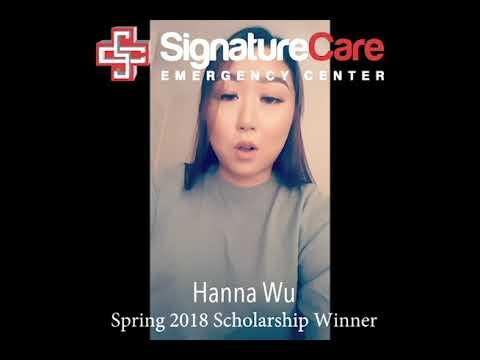 Hanna Wu SignatureCare Emergency Center Spring 2018 Scholarship Winner