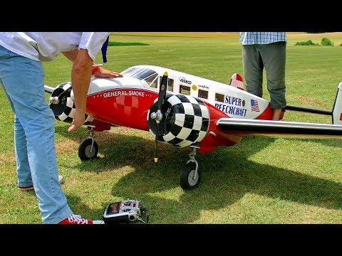 HUGE RC VINTAGE BEECH-18 SCALE MODEL AIRPLANE FLIGHT DEMONSTRATION