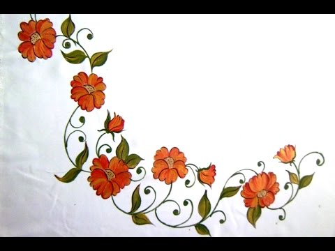 Fabric Painting Bed Sheet Painting Corner Designs By Premlata Youtube