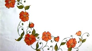 Fabric Painting- Bed Sheet Painting-corner Designs