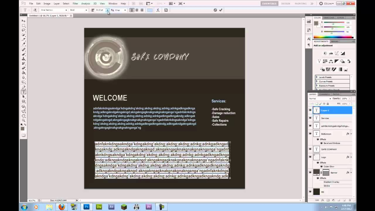 How to design a website in photoshop tutorial youtube baditri Gallery