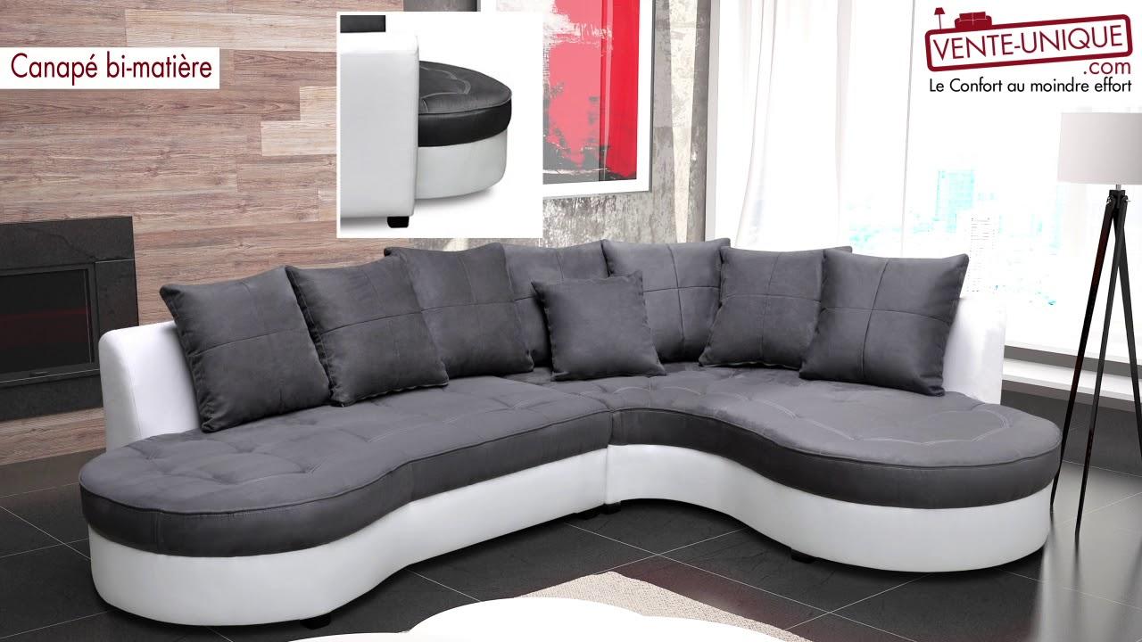 Canapé d\'angle bimatière STEPHANIE - YouTube
