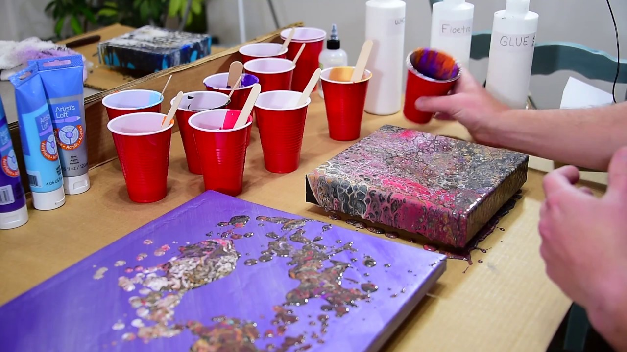 Fluid Art Frosted Top Dirty Pour Flip Cup With Silicone Floetrol