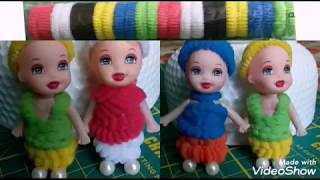 Dress with hair bands for baby doll