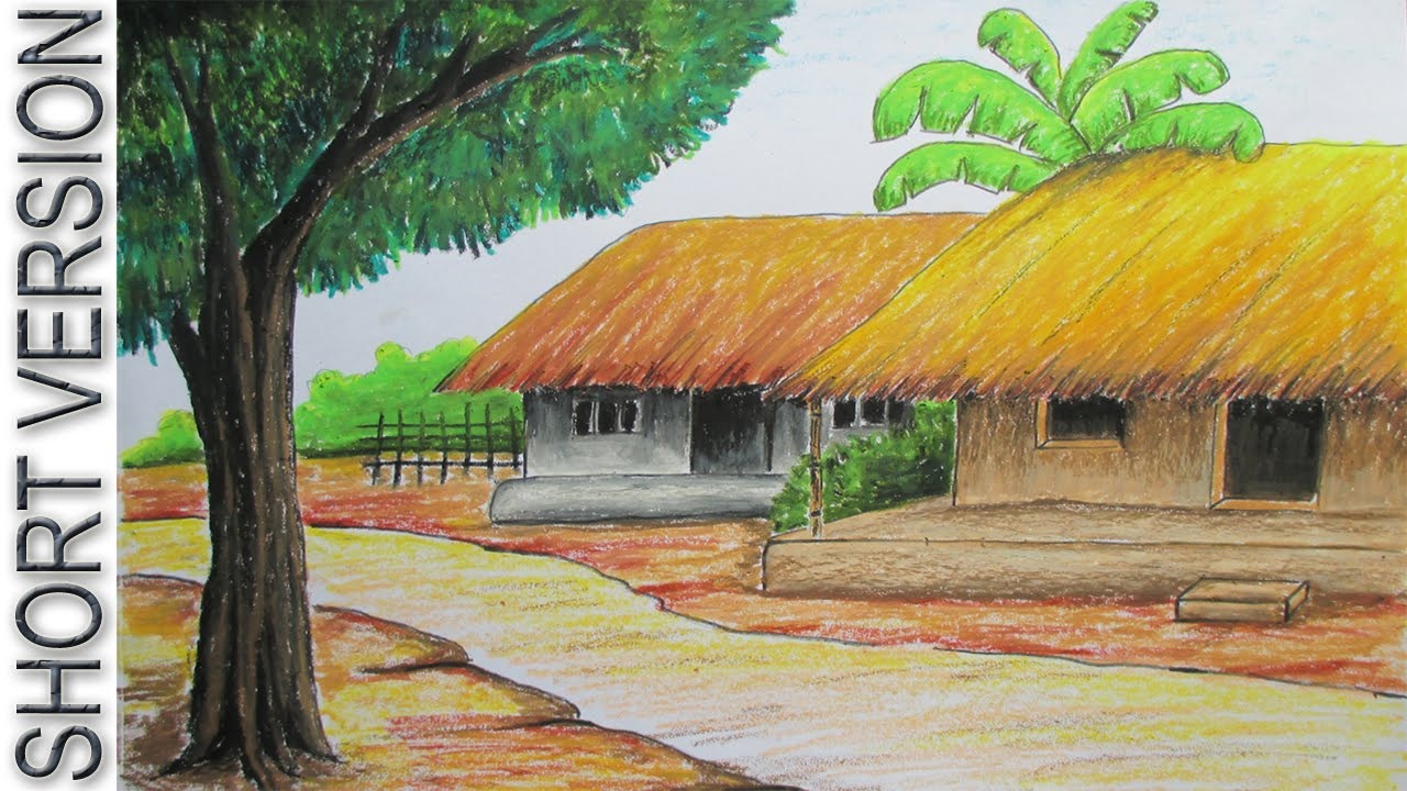 How to draw village hut with pastel color short version youtube