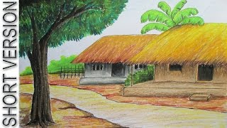 How to Draw Village Hut with Pastel Color [SHORT VERSION]