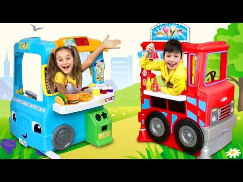 Sasha Play With Food Trucks Toys And Teach Dad How To Cook