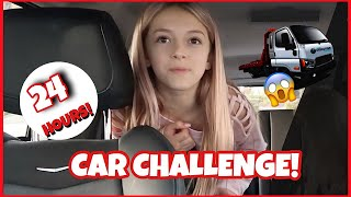 24 HOUR CHALLENGE OVERNIGHT IN OUR CAR | GONE WRONG | QUINN SISTERS