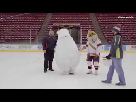 Thumbnail: Car dealership mascot can't stop slipping on ice