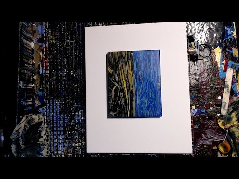 Easy abstract landscape w/WA- fluid acrylic art- double tree ring landscape pour