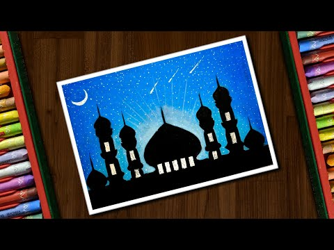 Mosque Drawing with Oil Pastels for beginners - step by step