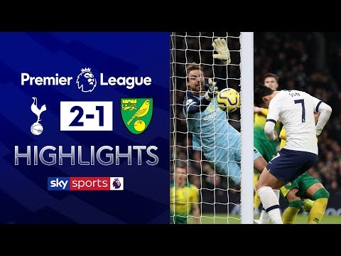 Son scores header after Pukki penalty scare | Tottenham 2-1 Norwich | Premier League Highlights