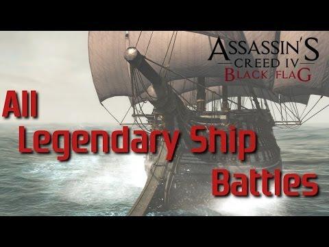 AC4: Black Flag | All Legendary Ship Battles [PS4]