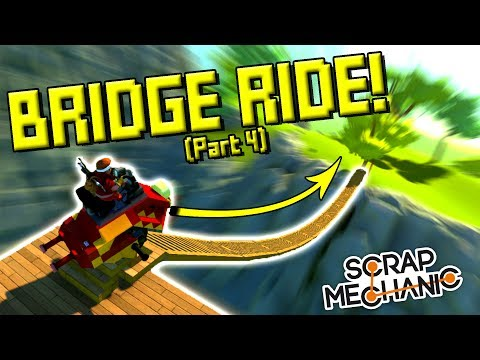 TESTING THE BRIDGES and DISCONNECTING! (Suspended Mountain Base Part 4) - Scrap Mechanic Gameplay