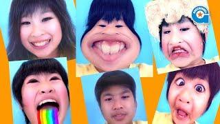 話題のSnapchat(スナップチャット)で小学生が子供に変身してみました^^ 色々なフィルターがあって楽しいアプリです。 がっちゃんは口から虹が...