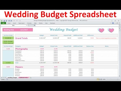 Wedding Budget Spreadsheet  Simple Excel Wedding Budget Planner