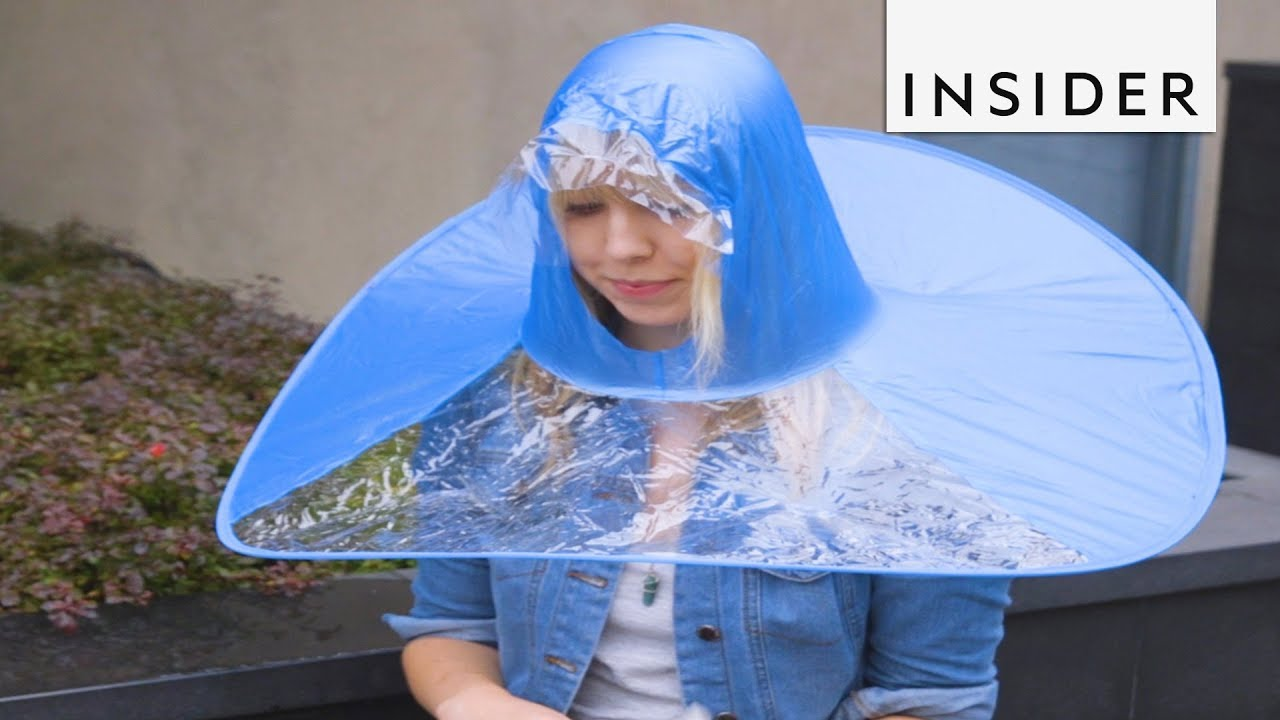 fdd2dce3b123a We Tried Wearing The Hands-Free Umbrella - YouTube
