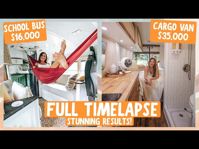 YOUNG COUPLE BUILDS AMAZING SKOOLIE & SPRINTER VAN // FULL TIMELAPSE