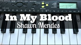 In My Blood - Shawn Mendes   Easy Keyboard Tutorial With Notes (Right Hand)