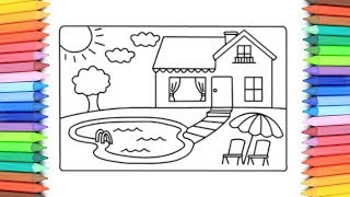 How To Draw A House with Pool for Kids 💙💜💖 House with Pool Drawing and Coloring Pages for Kids