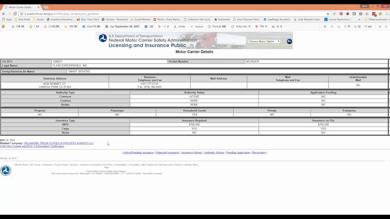 How to see the boc 3 info for any motor carrier freight for Motor carrier number lookup