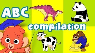 Animal ABC   learn the alphabet A-Z with cartoon animals   ABCD video compilation for kids