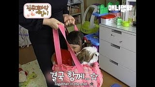Little human girl imitates everything her dog sister does XD