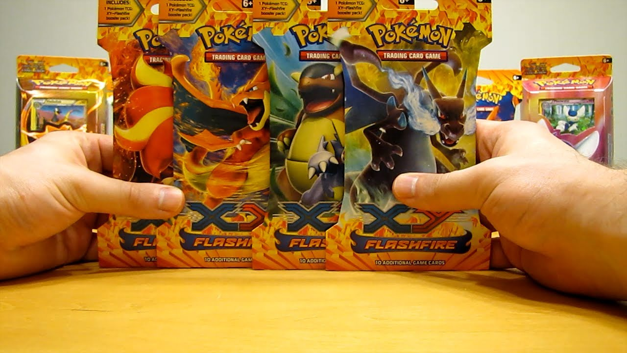 4 Flashfire Pokemon Booster Pack Opening (Great Pull!) - YouTube