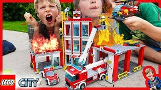 LEGO City Fire Station ON FIRE! Time Lapse Build and Fire Trucks For Kids