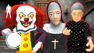 СТРАШНЫЕ КЛОУН МОНАХИНЯ И БАБКА ГРЕННИ - Clown Neighbor Gang Granny