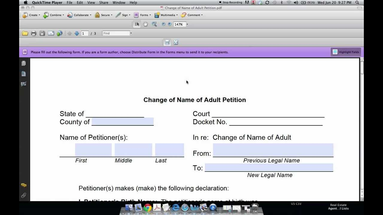 How to Fill Out a Name Change Form and Petition YouTube – Official Change of Address Form