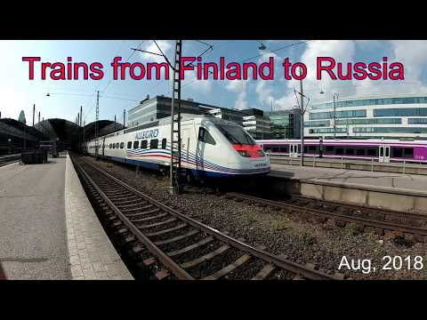 Trains from Finland to Russia (Allegro, Tolstoi) at Helsinki station, Finland