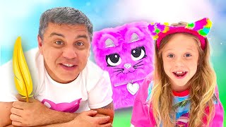 Nastya e papai compõem suas próprias histórias de ficção engraçadas