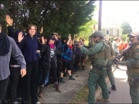 Heavily Armed Police Target Counter-Protestors At Neo-Nazi Rally
