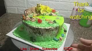 Decorating Cream Cake With 3D Tiger Shape (35) Trang trí bánh kem tạo hình con Hổ 3D