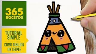 COMO DIBUJAR UN TEEPEE KAWAII PASO A PASO - Dibujos kawaii faciles - How to draw a teepee